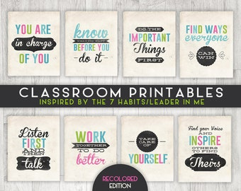 Classroom Printable Posters, 7 Habits Inspired, Leader in Me, INSTANT DOWNLOAD - 8x10 - 8 posters total