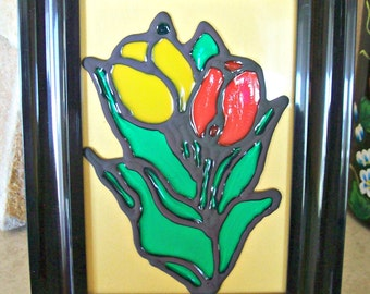 Stained Glass in the photo frame, Stained Glass Tulips, spring stained glass,Stained Glass Spring