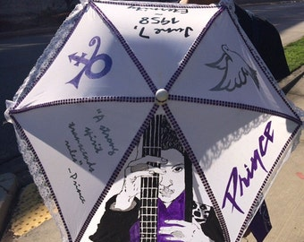 Hand painted Prince Second Line Umbrella