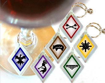 "Wine Glass Charms ""Petroglyphs!"" from rescued, repurposed window glass~ When you don't want to share, mark your glass!"