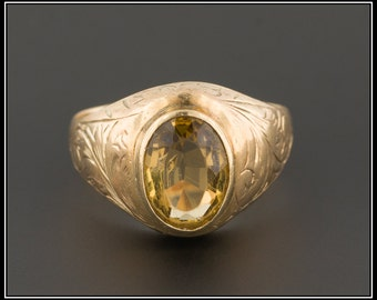 Antique Citrine Ring | 10k Gold Ring | Antique Victorian Ring | Antique Ring