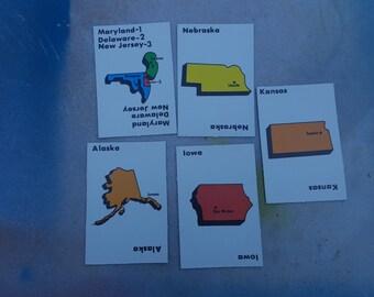Vintage Flash Cards, 80s Game Cards, State Cards, Flash Cards, State to State Game Cards, Maryland, Alaska, Nebraska, Iowa, Kansas