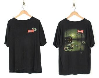 Vintage 90s Budweiser T-shirt - 90s Budweiser Faded Black T-shirt - 90s Normcore Grunge Budweiser Frog T-shirt