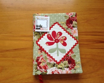 RED FLOWER handmade book cover, fabric book cover, book accessories,