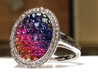 2.75 Carat Rainbow Sapphire Ring set in 925 Sterling Silver