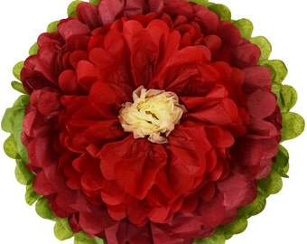 "Tissue Paper Flower 10"" Red Velvet Red Ivory - Item Number:TPF100021 - Just Artifacts - Paper Flower for Parties and Events"