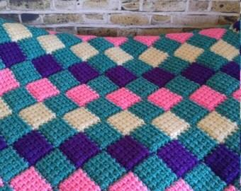 Lap Blanket, Vintage Throw Blanket, Vintage Afghan, Vintage Blanket, Picnic Blanket, Knit Blanket