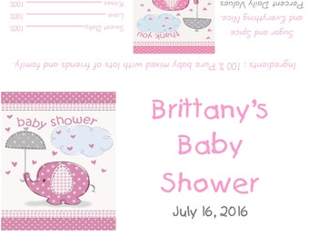 Pink Elephants Baby Shower Candy Bar Wrappers/Party Favors - Baby Girl