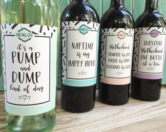 Mom wine labels, new mom gift, mom truths, mom life, mommin aint easy, unique baby shower gift, mommy milestones, new baby wine labels