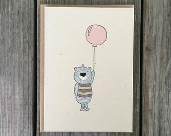 Cute Birthday Card, Cute Card for Kids, Cute Animal Birthday Card