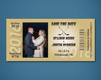 Wedding Save the Date • Ticket Style Save the Date • Save the Date • Hockey Save the Date • Pittsburgh • Pittsburgh Penguins Save the Date
