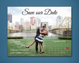 Calendar Photo Save the Date  • Photo Save the Date • Calendar Save the Date • Heart on the wedding date • Photograph • Landscape • Calendar