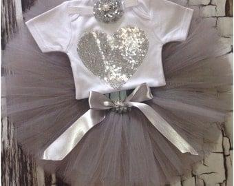First Birthday Silver tutu set - silver tutu set - 1st birthday tutu set