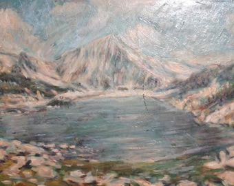 1972 Impressionist mountain landscape oil painting signed