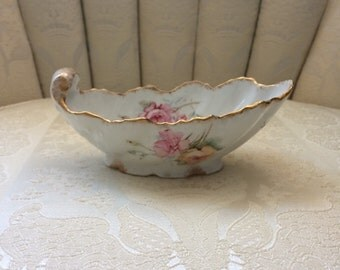 Vintage Limoges Sauce Boat with Pink and Peach Floral Motif