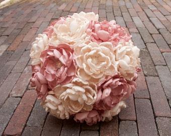 Bridal bouquet dusty pink and cream, fabric, satin, handmade, bridal, weddingbouquet, fabric bouquet, romantic, vintage