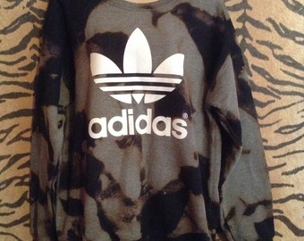 Unique acid wash tie dye adidas sweater sweatshirt top urban swag sportsluxe festival dope style