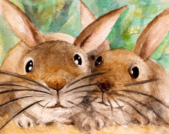 Bunny art watercolor rabbit painting original kids painting animal art wall art animal picture 4.5x5.5