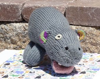 Knitted Hippo, Stuffed Animal, Hand Knitted Hippo, Kids Toy, Stuffed Hippo, Knit Toy, Stuffed Hippo, Plush Hippo, All Handmade, Boys' Toy