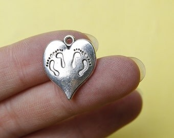 Footprint Charms Heart Charms Antique Silver Tone 17x20mm