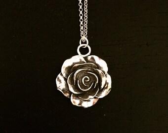 Rose necklace-sterling silver-giftforher-nature-flower-pre-sale.
