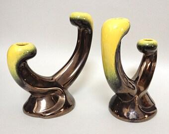 Rare French Signed Ceramidi Atelier Candlesticks - French Vallauris Ceramic - 50's