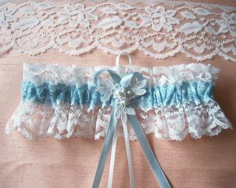 Ivory and blue wedding garter bridal garter with Swarovski pearls