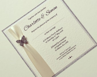 Flutterby Glitter Flat Invitation