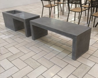custom made benches with planters