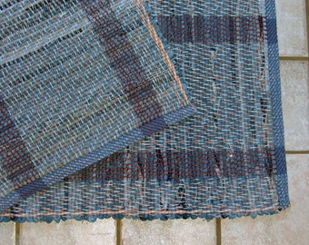 "Rag Rug #347 blue jean rug 26"" x 35"""