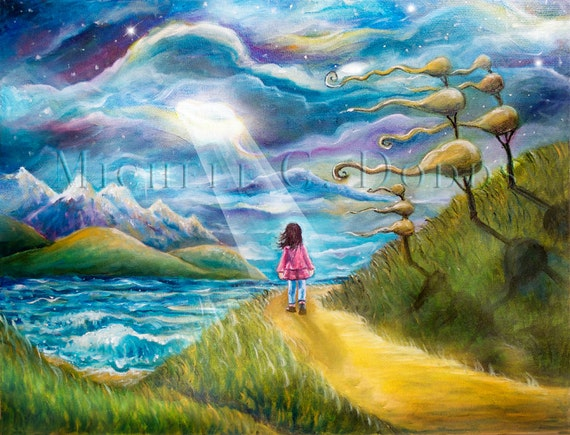 items similar to windy walk 18h x 24w inch original oil painting light beams on girl walking. Black Bedroom Furniture Sets. Home Design Ideas