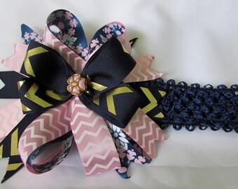 Navy and Pink Headband
