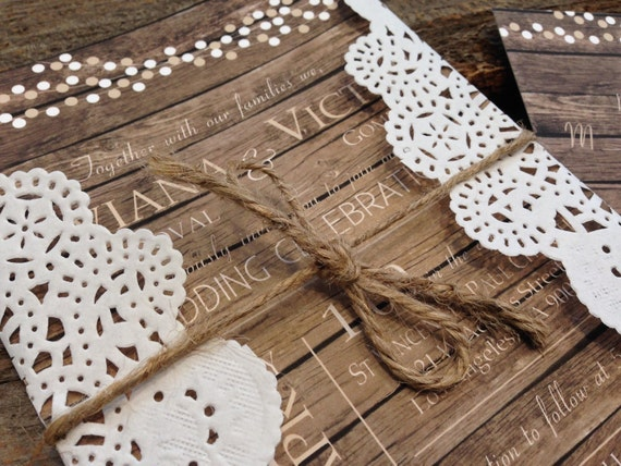 Rustic Wedding Invitation Set,Barn Wedding Invitation,Country Wedding Invitation,Wood Wedding Invitation, Doily Wedding Invitation