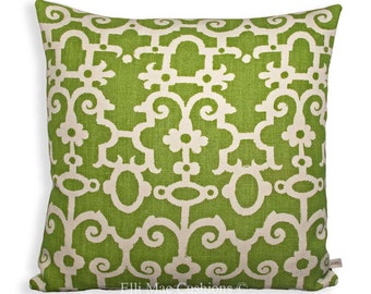 Raoul for George Smith Luxury Geometric Fabric Green Linen Designer Sofa Pillow Cover