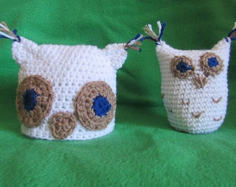 Owl hat and toy, White owl hat an toy,Spring photo prop, Crochet baby hat,