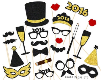 New Years Eve Photo Booth Props - FELT Photobooth Props - 2016 Party - Mustache, Lips, Mask