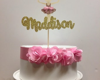 Personalized Ballerina Cake Topper with attached Cake Pick