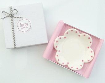 Ring Dish - Trinket Dish - Jewelry Dish - Ceramic Flower Dotty Pink
