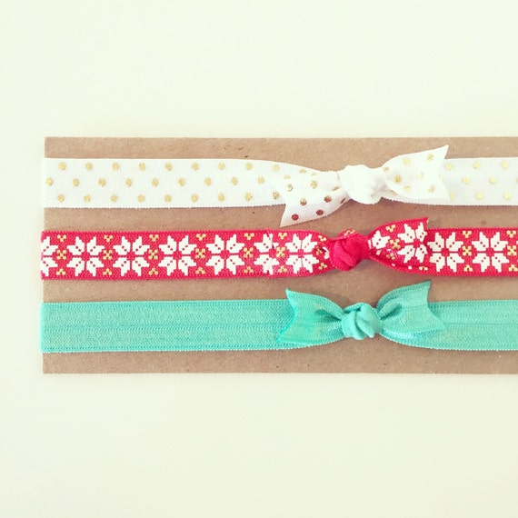 Nordic Christmas Knot Bow Headband Set | Holiday Knot Bow Headbands for Baby Toddler Girls, Red Green White Gold Christmas Knot Bow Headband