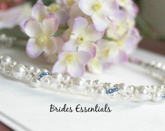 Bridal Headband, Pearl Rhinestone, Something Blue, Wrapped Metal Headband, Wedding Headband, Bridal Pearl Headpiece, Bridal Tiara Headband