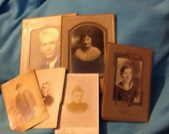 Old pictures ,3 with old cardboard frames.