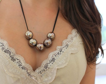 Ball necklace Ceramic beads Necklace Gold necklace  Statement Necklace Ceramic Jewelry