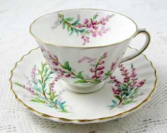 Royal Doulton Bell Heather Bone China Tea Cup and Saucer, Signed by Artist