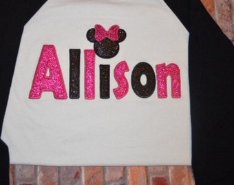 Sale Sale/Sale Sale!Embroidered Custom Name Shirts/Minnie Mouse Shirt