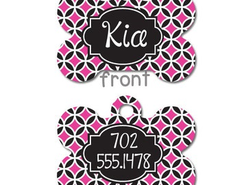 Personalized Pet ID Tag - Personalized Pet Tag - Custom Pet ID Tag -  Dog Name Tag - Dog ID Tag - Dog Collar Name Tag - Pink and Black