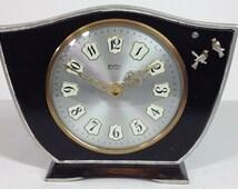 Perfect Quartz - Unique Hand Painted Black/Silver Case Shabby Chic Mantel Clock