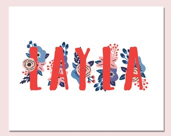 Layla Personalized Name Sign Nursery Printable Personalized Baby Gift Nursery Wall Art Baby Shower Decor Personalized Name Baby Gift