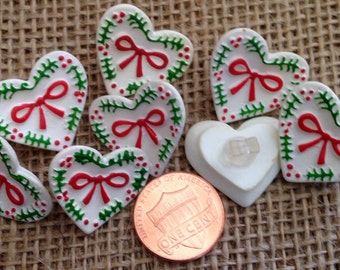 "Lot of 8 White Red Green Holiday Christmas Heart Plastic Shank Buttons 7/8"" 23mm # 7346"