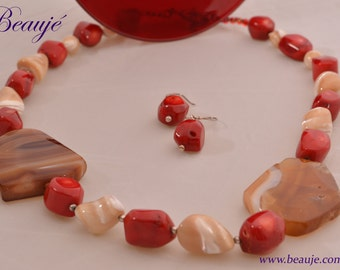 Red necklace Red coral Gemstone jewellery Semi-precious necklace Beauje Handcrafted Unique Designer Sterling silver Gift Box Beaded
