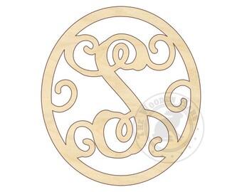 """Oval Monogram - Oval Wreath - 18""""-24""""- Door Hanger Letter - Large Wood Monogram Letter - Wooden Letter - 210150"""